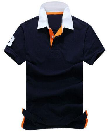 Top Express Fashion American Style Men Casual Solid Polo Shirts Classic short sleeve Big Horse polos shirts Business White navy Blue