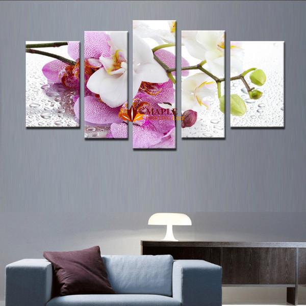 Acheter 5 Piece Decoration De La Maison Mur Art Violet Rose Fleur Art Image Peinture Sur Toile Imprime Peintures De Fleurs Mur Photos Pour Salon De