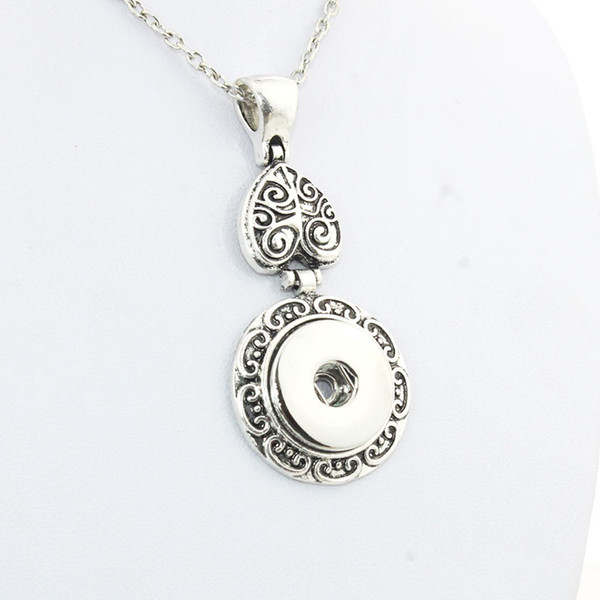 Boom Life Vintage Women 'S Flower 18mm Metal Snap Button Long Chain Necklaces &Pendant Female Diy Jewelry One Direction