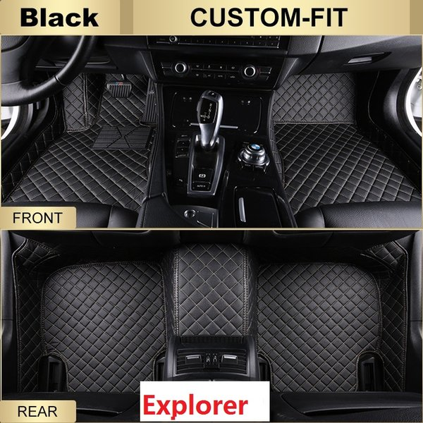 SCOT All Weather Leather Car Floor Mats for Ford Explorer Waterproof Anti-slip 3D Front & Rear Carpets Custom-Fit Left-Hand-Driver-Model
