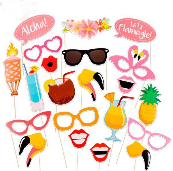 21 Peças Flamingo Tropical Verão Hen Photo Booth Props Havaí Carnaval Decoração Do Partido Photobooth Aniversário Suprimentos G917