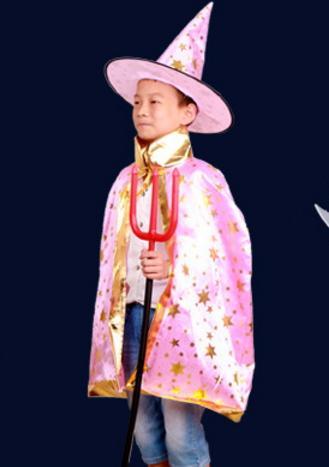 هالوين الاطفال 6 اللون عباءة قبعة يتوهم هدية عيد اللباس ازياء ساحرة ساحر تأثيري الدعامة للأطفال زي الرأس