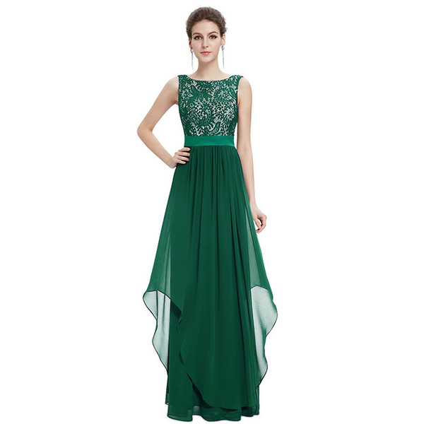 Bateau Neck Lace Chiffon A Line Long Evening Dress V Back Evening Gowns Elegant Mother Of The Bride Dresses