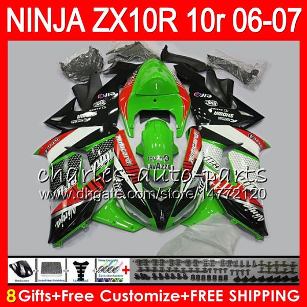 8Regalos 23Color del cuerpo para KAWASAKI NINJA ZX 10 R ZX10R 06 07 04 05 39HM8 ZX 10R ZX1000 C ZX1000C 06 ZX-10R 2006 2007 Verde negro Carenado