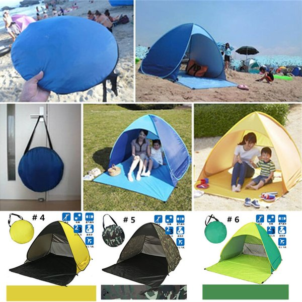 Summer Beach Tents Quick Automatic Opening 50+ UV Protection Outdoor Gear Camping Shelters Tent Travel Lawn Multicolor 10 PCS DHL/Fedex