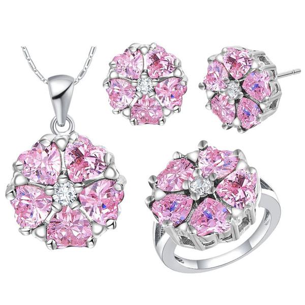 crystal gem Zirconium 925 Silver pendant Earrings ring Women Gift suit made high-grade crystal diamond suit suit Zirconiu