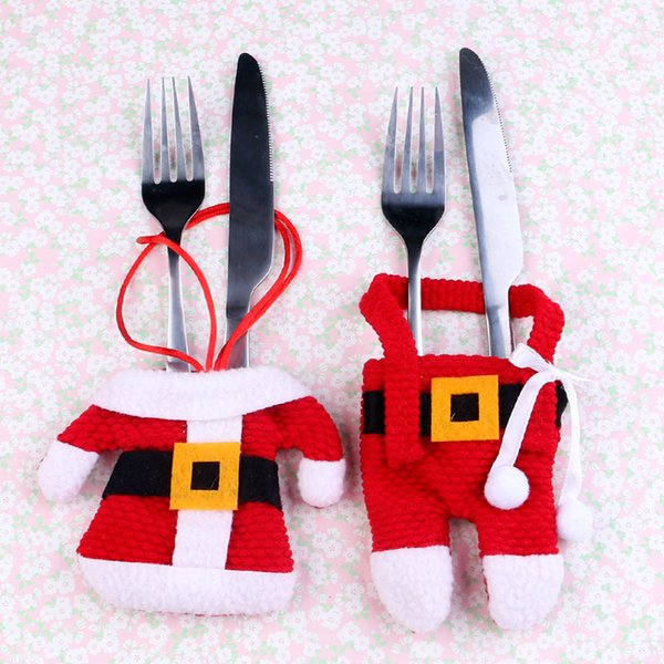 Christmas Table Decoration Tableware Decor Knife Holder Pocket Xmas Dinner Cutlery Sets for Home Kitchen Party Restaurant