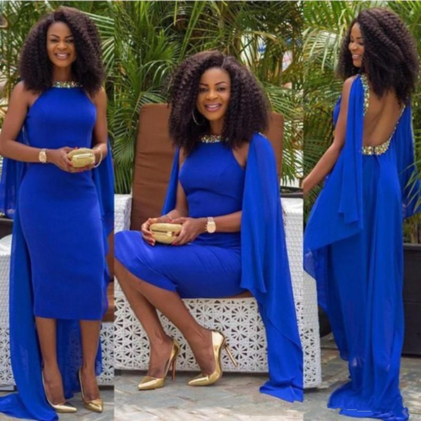 Royal Blue Chiffon African Style Evening Dresses Tea Length Caped Beaded Rhinestones Sexy Backless Cocktail Party Gowns