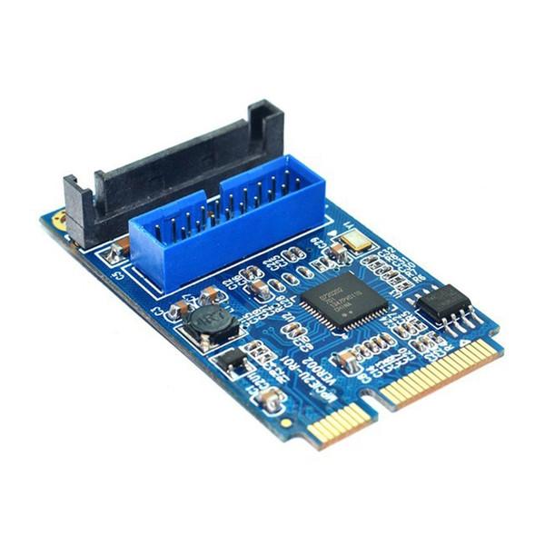 Placa base Freeshipping Mini PCI Express a Dual USB 3.0 Adaptador de tarjeta de expansión de 20 pines, Mini PCIe PCI-e a 2 puertos USB 3.0 con alimentación SATA