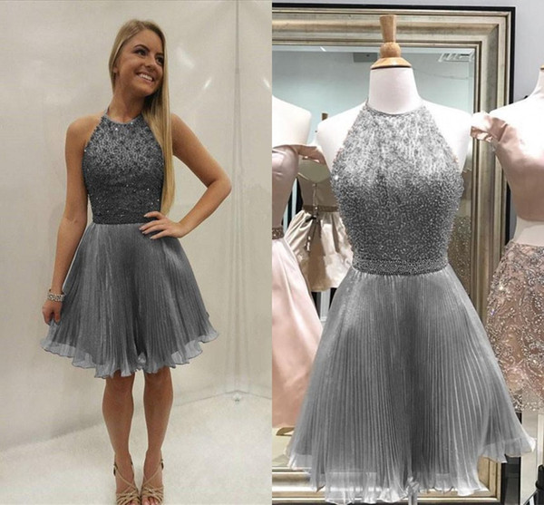 top popular Silver Gray Beading Organza Homecoming Dresses Jewel Halter Pleated Champagne Pink Short Prom Dresses Party Dresses 2020