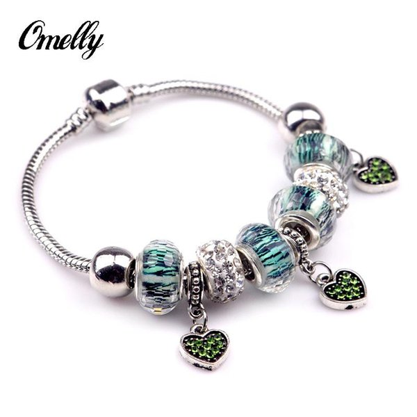 Crystal Paved Bracelets Charms Heart Love Beads Murano Glass Beads Silver Charms Bracelet Bangles Party Jewelry Hot Sale