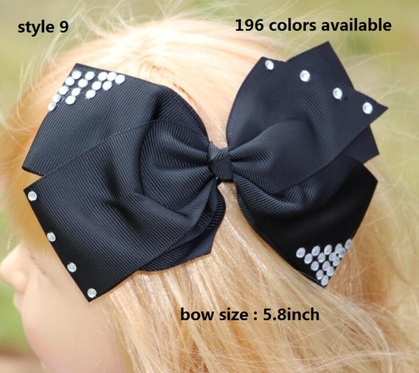 196 Colors 5.8inch jojo Pretty Girls hair bow with clip Solid Grosgrain Hair Bow With Rhinestone Hair Accessories 50pcs/