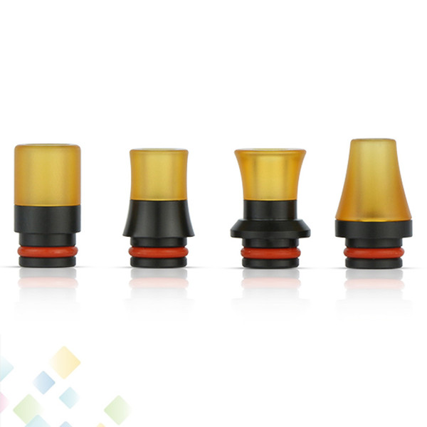 top popular 4 Types PEI Drip Tip 510 Wide Bore MouthPiece Black POM + PEI Plastic Raw Material Fit 510 Atomizers Best Electronic Cigarette DHL Free 2021