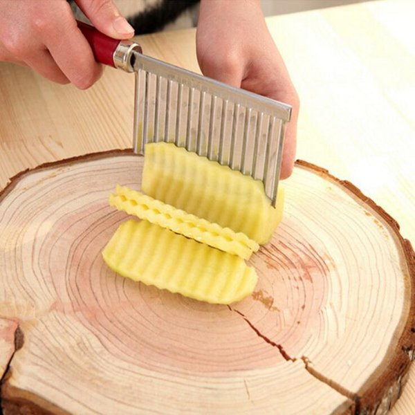 Potato Wavy Edged Knife Vegetable Fruit Cutting Peeler Potato Chip Stainless Steel Knives Cooking Tools OOA2079