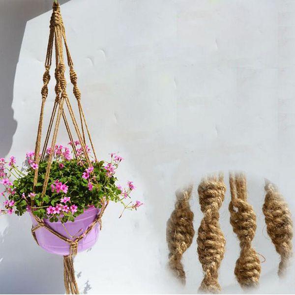 Planta Hanger Titular Pote de Corda de Juta Colorido Macramé Artesanal de 40 Polegada Decoração de Casa Jardim Pendurado Exibição de Flores ZA3142