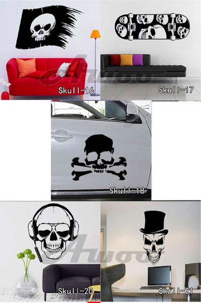 Halloween Skull Wall Stickers Vinyl Skull Wall Sticker Cartoon Waterproof Removable Decals Home Decor Free Shipping