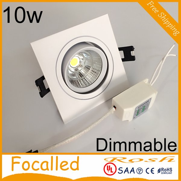 top popular Hot Sales Square Dimmable Led Downlights cob recessed lights lamp 10w 900LM AC90-260V Warm Cool White + Drivers CRI 85 2021
