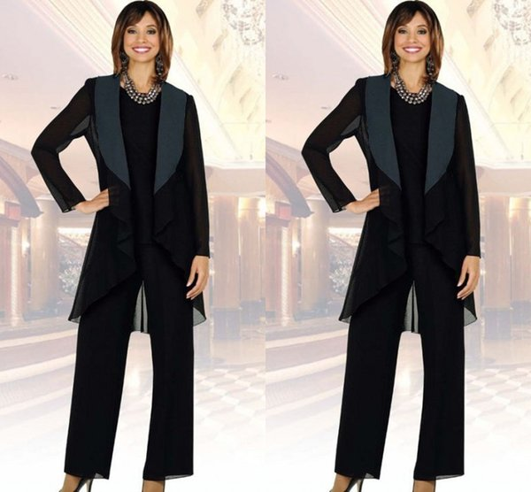 Black Long Jacket 2019 Mother of the Bride Pant Suits with Long Sleeve Plus Size Three-Piece Mother's Formal Wear Evening Groom Gowns Cheap