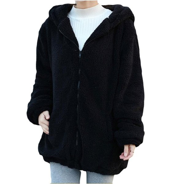 Winter Women Hoodies Sweatshirts Long Sleeve Hoody Brand Cardigan Loose Fluffy Bear Cartoon Ear Warm Shirts Coat Cute Womens Clothes