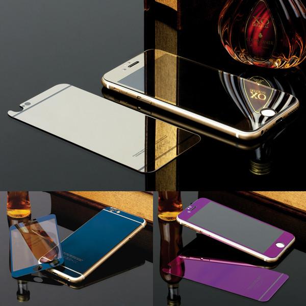 2 unids / lote Frente + Atrás Vidrio Templado Para iPhone 5S 5 Protector de Pantalla de Cubierta Completa Efecto Espejo Colorido Película Protectora Dorado, azul