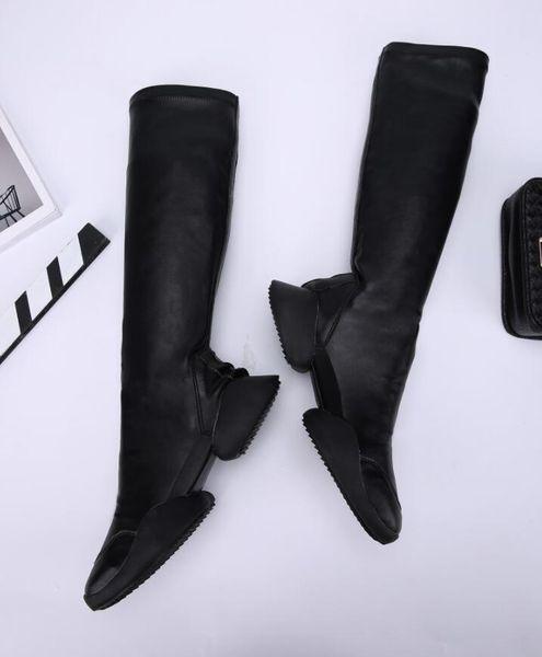 Echtes Flache Großhandel Hohe Lange Das Herbst Strumpf Booties Stiefel Ferse Leder Winter Frauen Gladiator Knie Schuhe 2017 Damen Über Mode mwnN08