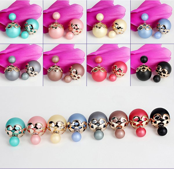 Mix Color Fashionable Colorful 16mm Simulated Double Pearl Earring Double Sided Wear Stud Earring