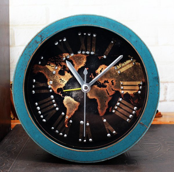 New fashion creative retro style wooden clock 3d rivet embedded new fashion creative retro style wooden clock 3d rivet embedded world map desktop clock alarm gumiabroncs Images