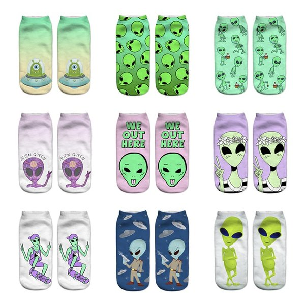 2017 New arrival Low Cut Ankle Socks Funny Aliens 3D Printing Sock Cotton