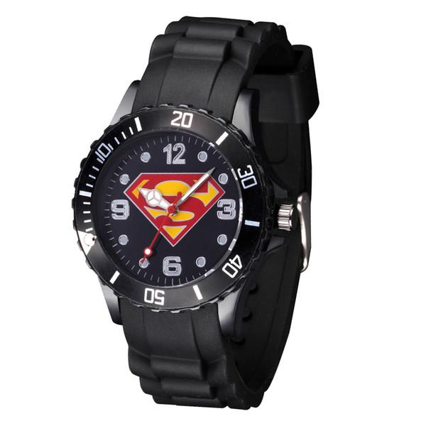 Cartoon Boy girl children students Superman style Black Silicone strap quartz wrist watch 08