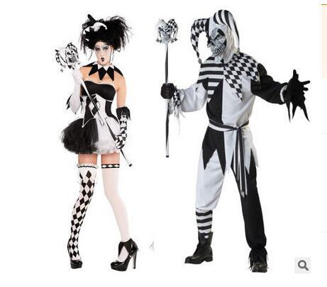 New Halloween Jindian Black And White Couple Costumes Adult Funny Circus Clown Costume Playing Poker Cosplay Clothing for Men Women