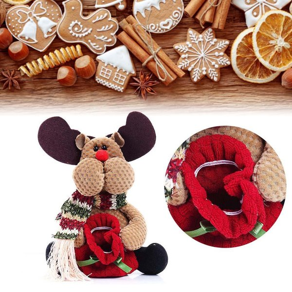 Wholesale-2015 Christmas Xmas Standing Decoration Deer Candy Bag Table Ornaments Gifts table decorations xmas tree decorations holiday