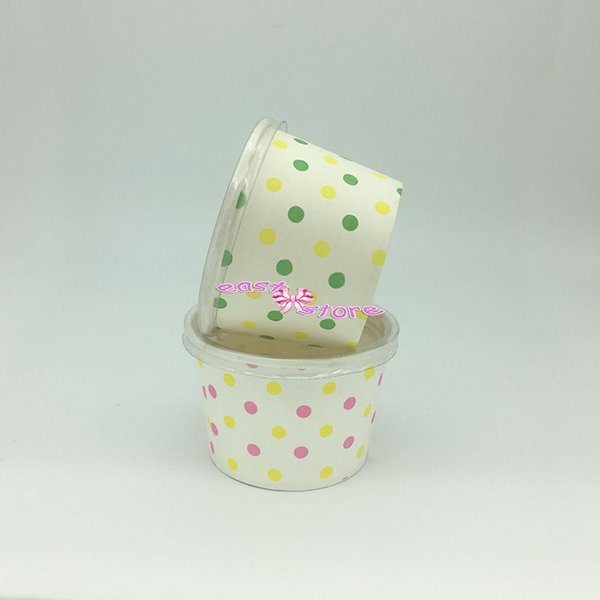 Cool!!! Round polka dot paper cupcake case ice cream cup, candy cup &containers with Lids no Spoon