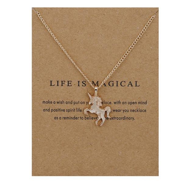 Acheter Collier Licorne Avec Carte De Message Mignon Licorne Alliage Pendentif Colliers Pour Femmes Filles Bijoux De Mode Cadeau De 086 Du Angel1949