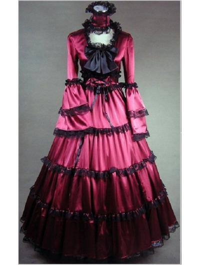Elegant Purple Satin Southern Belle Civil War Victorian Ball Gown Renaissance Princess Period Dress Reenactment Theater Costume