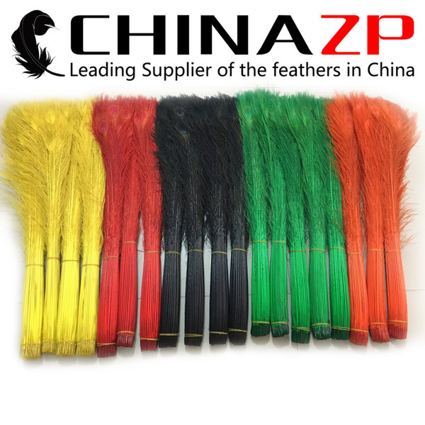 No.1 Supplier CHINAZP 80~90cm(32~36inch) 200pcs/lot High Quanlity wholesale dyed Multicolor Peacock Tail Feather For Carnival Design