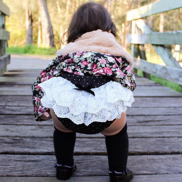 2017 Baby Girl Rose Flower Pettiskirt Ruffle Panties Bloomer Diaper Cover Kids Underwear flower PP Pants Toddler Children Photography Pants