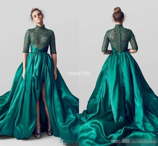 Emerald Green High Neck Split Evening Dresses Half Long Sleeves Lace Applique Formal Prom Pageant Gowns Celebrity Party Wears 2017 Cheap