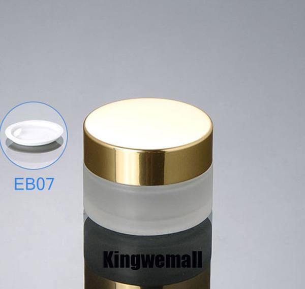 300pcs / lot Frosted glass 20ml pequeña botella cosmética mini 20g Empty cream jar Frascos de envases de muestra con tapas de oro