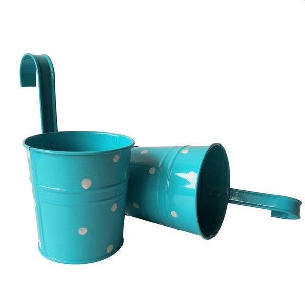 Sky blue color Hanging Garden bucket tin box Iron pots Flower metal Planter Dot Wedding Buckets
