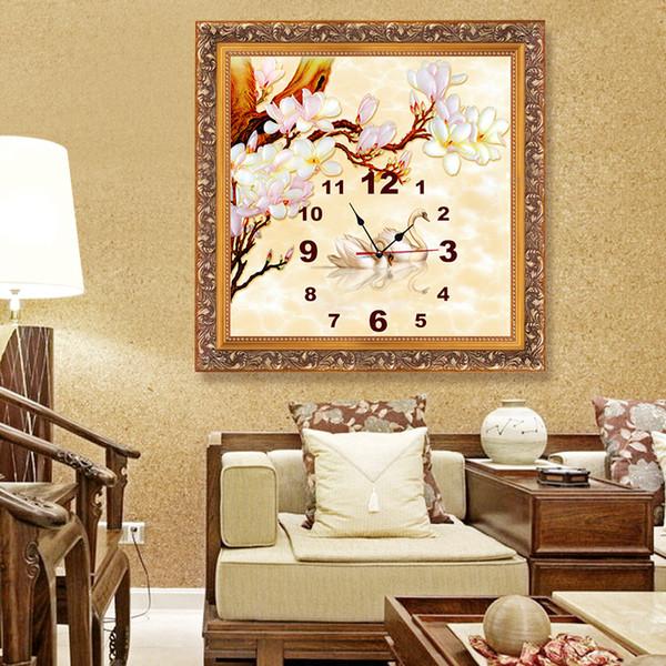 Wholesale- 3d Home Decor Quartz Diy Wall Clock Clocks Diamond Embroidery Swan Painting Cross Stitch Mosaic Patterns Rhinestone