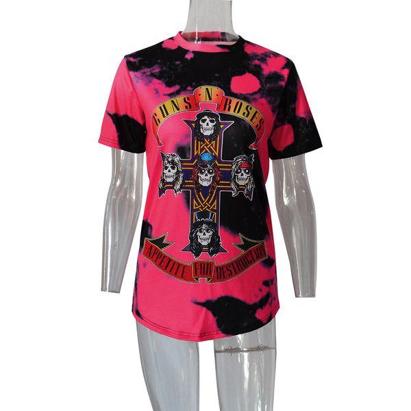 2017 Estate Donne Guns n Roses Rock Roll Magliette Big Girls Top Tee GNR Rosso Maglietta Femme Cotone Hip Hop Stile Vintage Estate Abbigliamento Economico