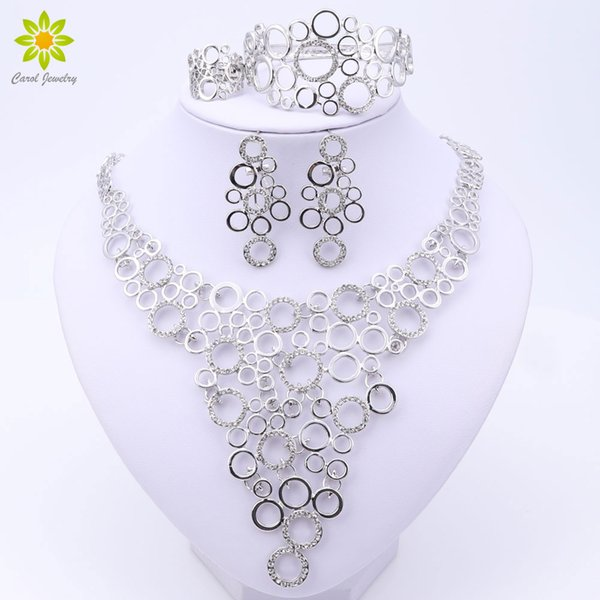 Fashion African Costume Crystal Jewelry Sets Dubai Silver Plated Jewelry Sets Elegant Rounded Necklace Design For Women Gift