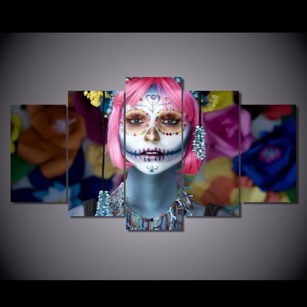 5 Pcs/Set Framed HD Printed Day of the Dead Face Picture Wall Art Canvas Room Decor Poster Canvas Modern Oil Painting