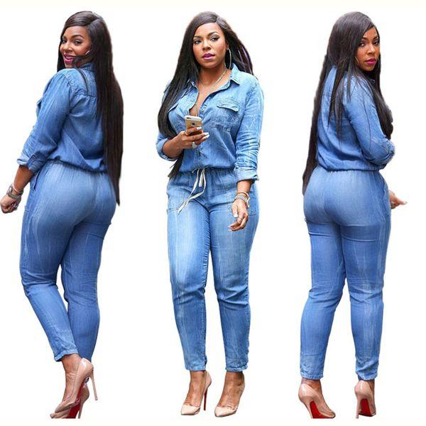 Wholesale- 2016 Stylish Women Lady Slim Skinny Casual Denim Jumpsuit Jeans Long Sleeve Slim Long Pants Rompers With Pocket Feminino SMR