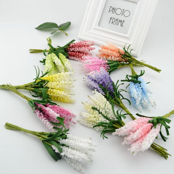 Atacado-10pcsDIY grinalda materiais flores artificiais flores artificiais lavanda PE noiva flor do casamento pulso corsage