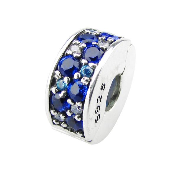 2017 NEUE Sommer lose Perlen Passt für Pandora Armbänder 100% 925 Sterling Silber Clip Perlen mit blauen CZ Großhandel DIY Charme