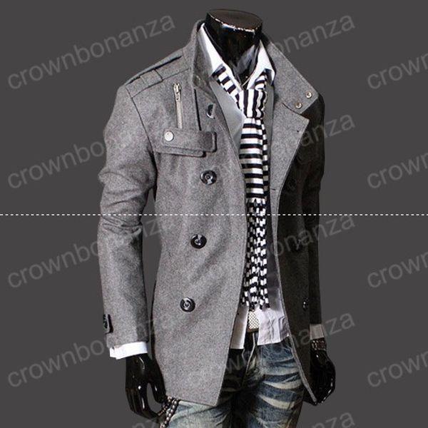 top popular Fashion Stylish Men's Trench Coat, Winter Jacket ,mens mid-long slim Double Breasted Coat ,Overcoat woolen Outerwear M-XXXL NEW ARRIVE!hight 2021