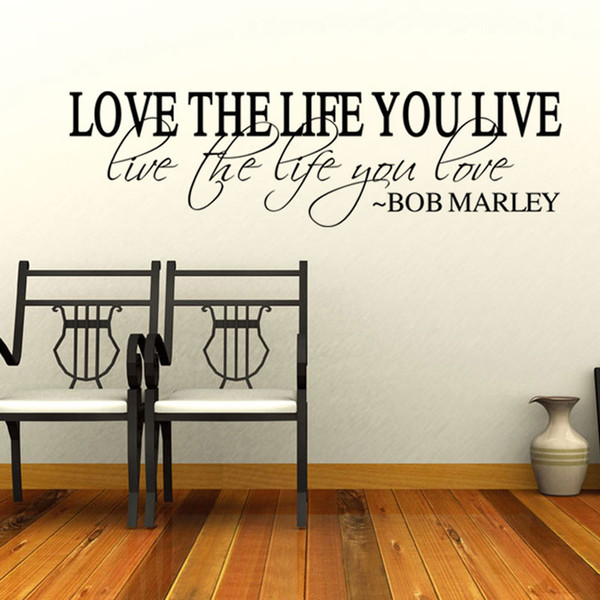 New Hot Sale Quote Vinyl Wall Decal Inspirational Lettering Love The Life You Live Wall Stickers Wall Stickers For Baby Room Wall Stickers For Bedroom