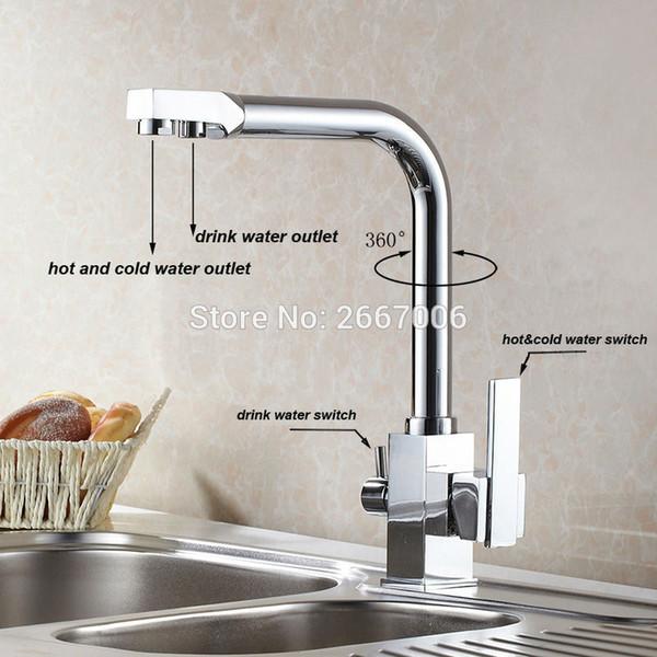 2019 Wholesale Drink Water Faucet Kitchen Sink Mixer Tap Chrome Brass Taps  Dual Handle Water Crane Dual Spout Faucet ZR646 From Sophine08, $146.24 |  ...