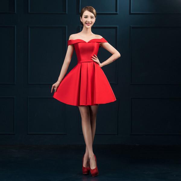 2017 Nuovi abiti da sera Elegante Off the Shoulder Abito da sposa Breve  Rosso   Blu 1e05b60a86e2